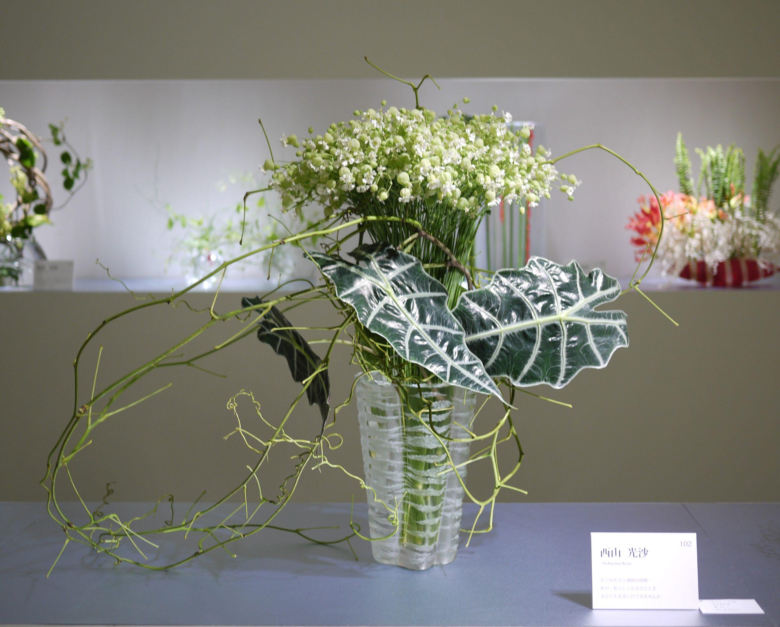 2014  草月いけばな展「みどりの瞬間」新宿髙島屋<br> Sogetsu Exhibition at Takashimaya, Shinjuku, Tokyo